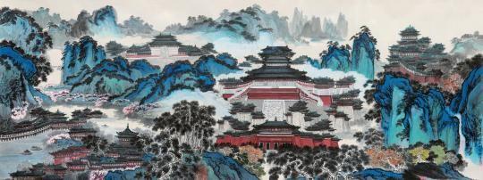 """""""樊璋认为,临摹是钻研楼阁山水画的重要途径,每一次模仿似与古人""""神交"""
