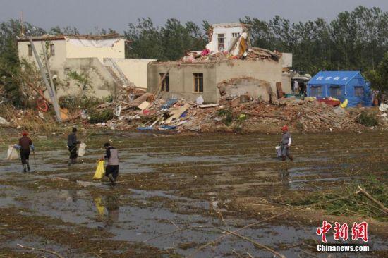 江苏盐城风灾区民众重建家园
