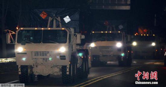 韩国国防部在7日凌晨两点部署剩下的4辆发射车。