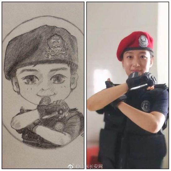 济南女特警用铅笔画下同事执勤训练漫画 网友直呼可爱又帅气